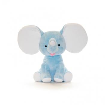 בובה עם רקמה בדמות פיל תכלת