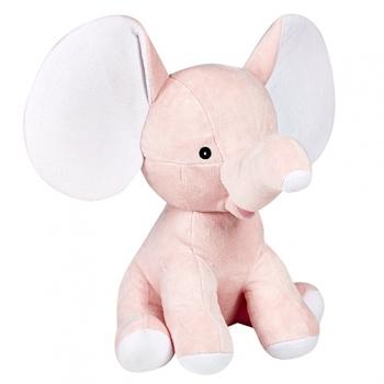 בובה עם רקמה בדמות פיל ורוד